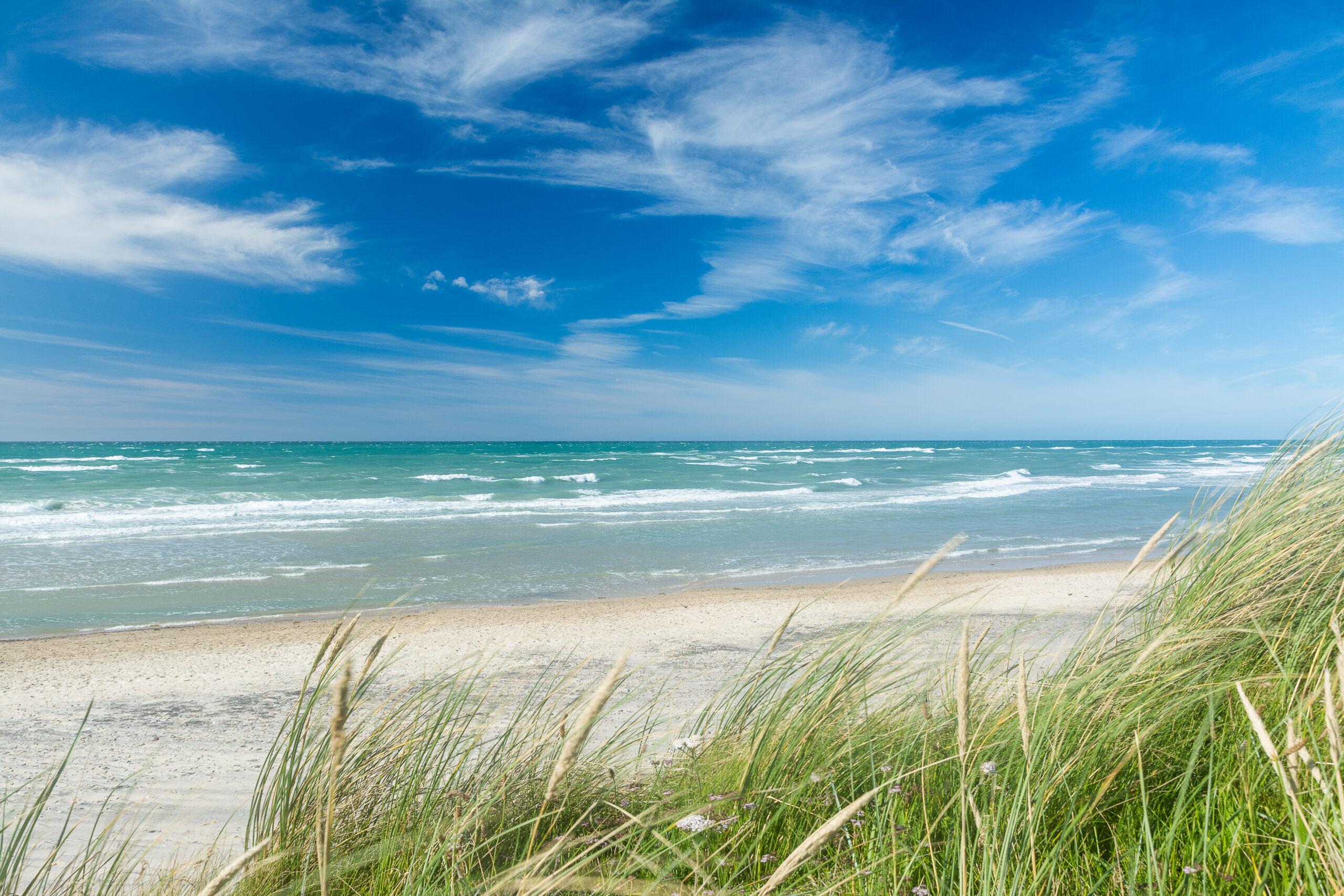 Nordsee und blauer Himmel mit Dünengras