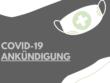 Grafik in grau und türkis für Covid-19 Ankündigung